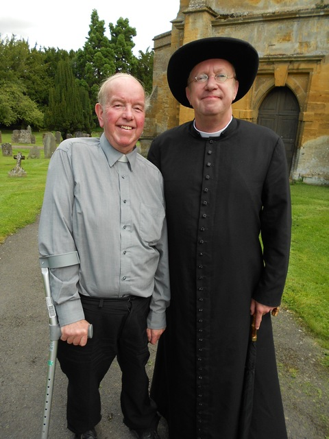 Former Blockely vicar Reverend Grahame Humphries with actor Mark Williams during filming
