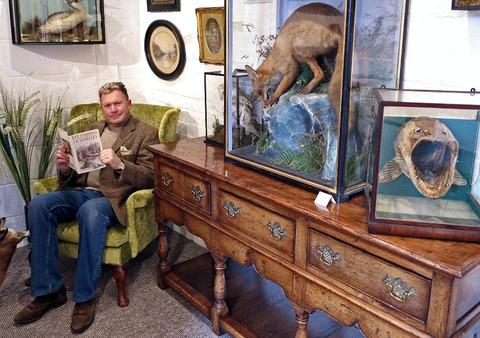 COUNTRYMAN AT HEART: John Farey in the Fisherman's Emporium, the shop he set up in the Vale of Evesham.