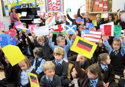 FLAGS: Pupils at Dormer House School in Moreton have forged links with different countries.