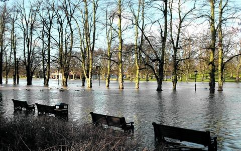 UNDER WATER: The scene in Workman Gardens, Evesham, this week after yet more flooding followed the thaw and rain