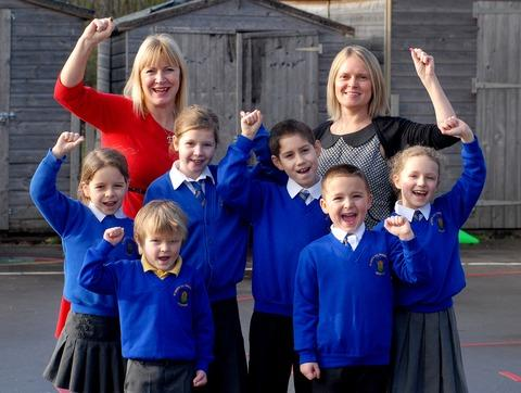 THREE CHEERS: Celebrating the outstanding Ofsted report at St Mary's School, Broadway.