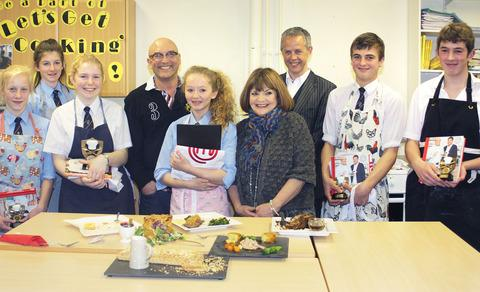 DIDN'T THEY DO WELL? The finalists of Juniorchef at Chipping Campden School with judge Gregg Wallace and festival organiser Julian Ebbutt.
