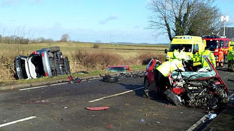 Five injured in three-car pile up near Shipston