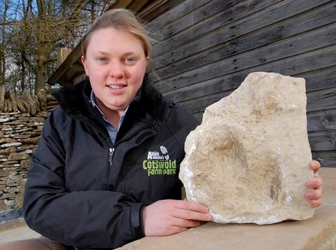 Kate Lord, farm park manager at the Cotswold Farm Park, near Guiting Power, with a dinosaur footprint found next door in a quarry