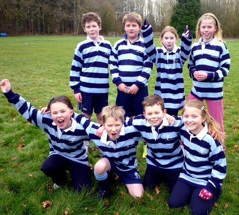 JUST SWELL: Swell Primary School's cross-country team line up. Picture: JUDY MORGAN
