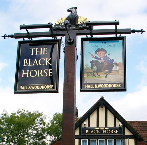 WINNER: The sign outside the Black Horse in Iver Heath