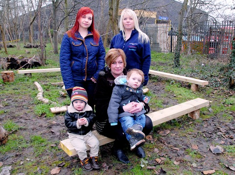 Danielle Print, Aimee Williams and Rachel Burfoot with Tyler Sabin and Christopher Burfoot- Santos, both aged two, at the vandalised play area.