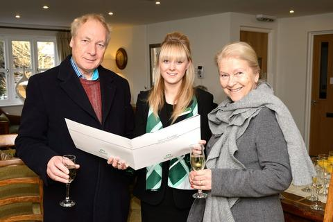 VISITORS: Sales consultant Becky Holgate, centre, with Bernard and Margaret Smith
