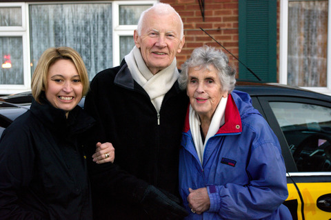 TV APPEARANCE: Mike and Heather Gerrard with their driving instructor Karen Parker
