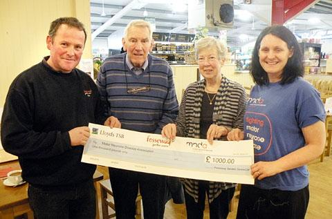 l-r Tim Godwin (Fosseway Garden Centre), David Parry (Suffers from MND), Maureen Parry (David's wife) and Sarah Hampton (Regional Fundraiser)