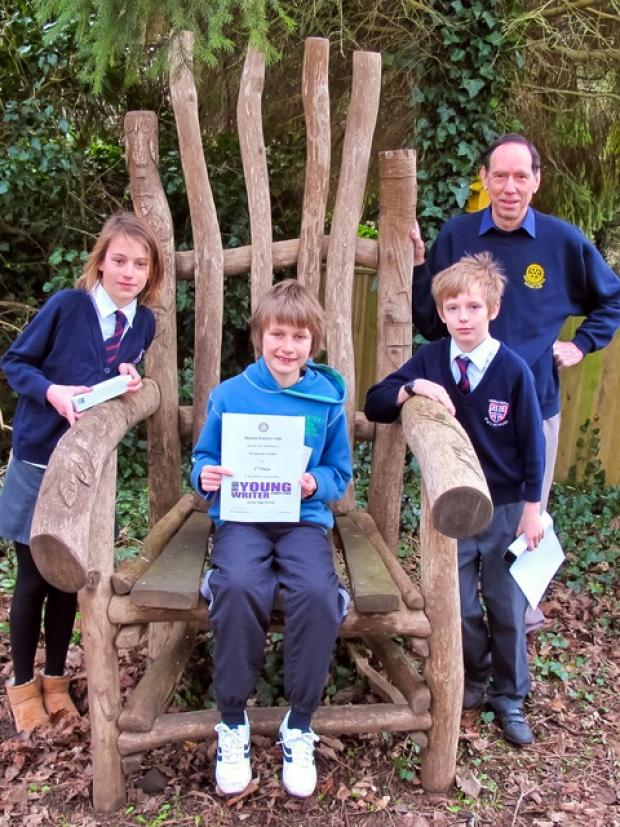Lamb, aged 10, second in the Junior Section, with Josephine Mutsaars and Joe Mercy, from Temple Guiting Primary School and Mike Boyes, of North Cotswolds Rotary Club