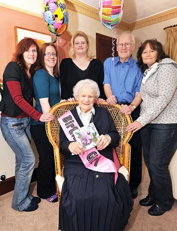 Rosa Hyde at her Evesham home with from left, granddaughter Marie Jaques, great-granddaughter Victoria Walsh, granddaughter Esme Rafter, son Trevor Hyde and daughter Patricia Rafter.