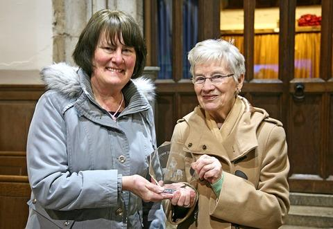 MUCH DESERVED: Elizabeth Bolland presents the Tony Jerram Award to 'unsung heroine' Jean Dyke from Badsey.