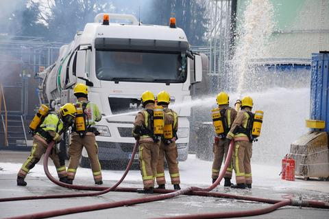 HOSES: Fire crews show off their skills during the county-wide training day.