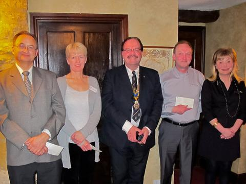 Robert Barnett, managing trustee of Kate's Home Nursing; Lesley Thorn, of Home-Start Cotswolds; Bob Hadley, president of the North Cotswold Rotary Club; and Colin and Terasa Pilcher of the Sam Pilcher Trust.