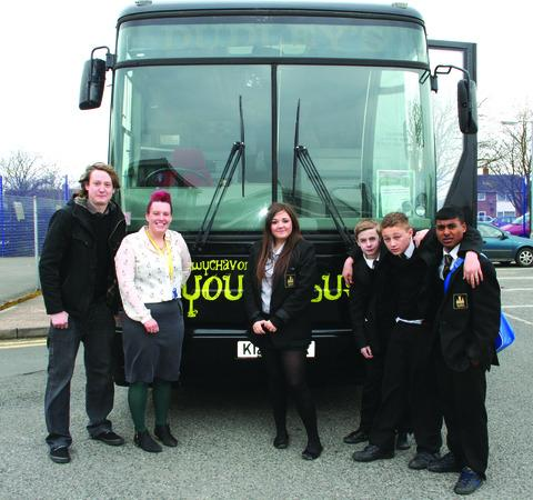 VISIT: Wychavon youth bus officer Rob Mace, left, with Evesham High School teacher Katie Green and year nine pupils Abby Gurney, Morgan Spiers, Javid Rahman and Mitch Miller.