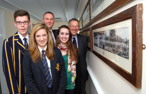 From left, Chipping Campden School pupil Ed Sanders, aged 15, wearing a scholars blazer, Megan Grosso, 15, school principal John Sanderson, Lydia Gray and Richard Price, chairman of the school archive project.