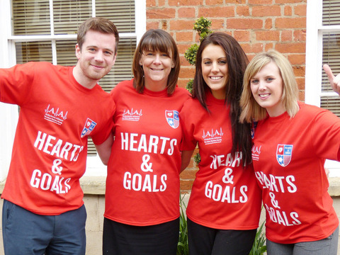 TEAM A-A: Steve Hayes, left, Caroline Holmes, Hattie Byron and Becky Hughes will be among the runners supporting the Arrhythmia Alliance's hearts & Goals campaign.