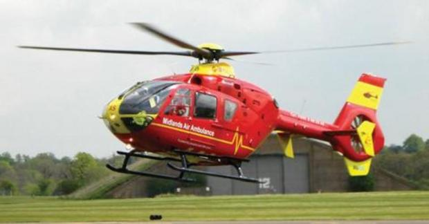 Elderly woman airlifted to hospital after heart attack