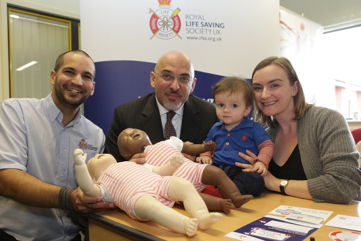 HANDS ON ROLE: From left, RLSS UK programme manager Mike Dunn, Nadhim Zahawi MP, Noah and Mia Harrison from Warwickshire.