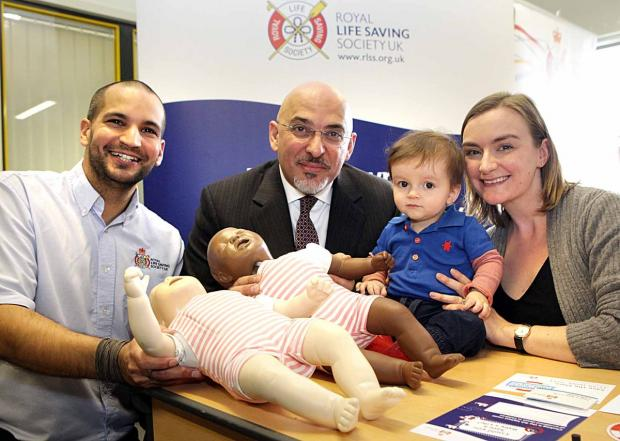 From left, RLSS UK programme manager Mike Dunn, Nadhim Zahawi MP, Noah and Mia Harrison from Warwickshire.