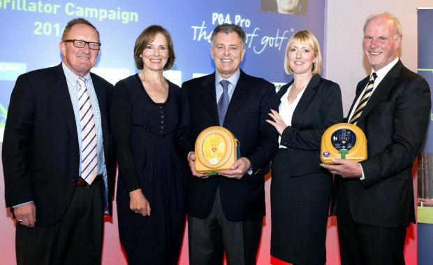 Richard Hills, Ryder Cup director; Lesley and Bernard Gallacher; Jo Jerrome, assistant CEO Arrhythmia Alliance; Sandy Jones, chief executive of the Professional Golfers' Association.