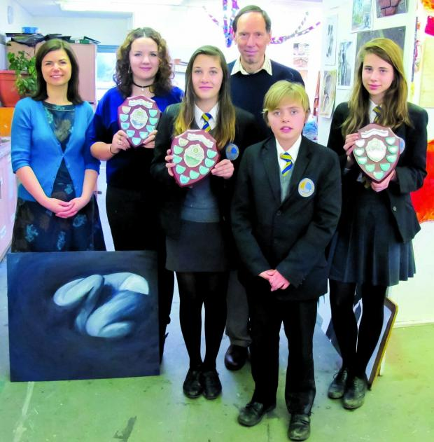 Cotswold Journal: CREATIVITY: From left: Head of art Nicky Hannam, Ophelia Brawn, Allessandra Vuolo, Rotarian Mike Boyes, who presented the awards, Freddie Hayward and Emilia Laird.