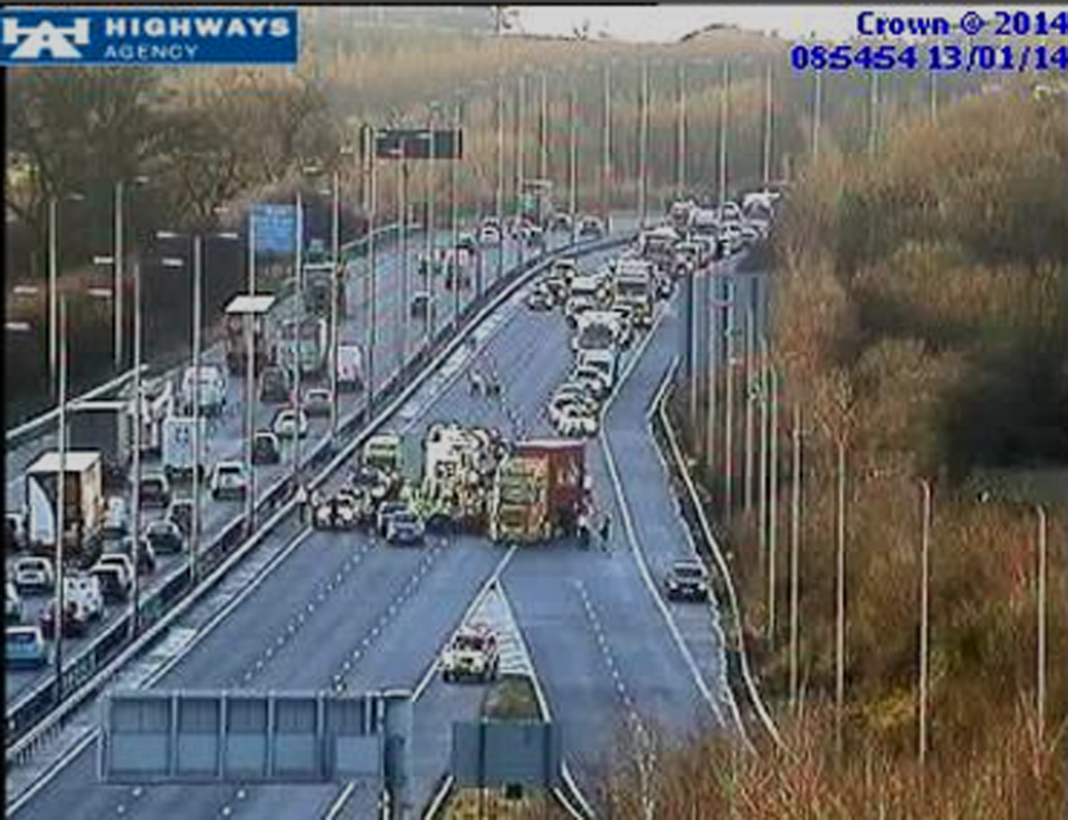 The incidents are causing delays on the M5 motorway through Worcestershire