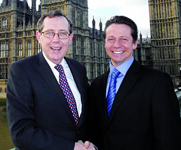 MP AND SUCCESSOR: Sir Peter Luff, left, who is to retire, and candidate Nigel Huddleston.