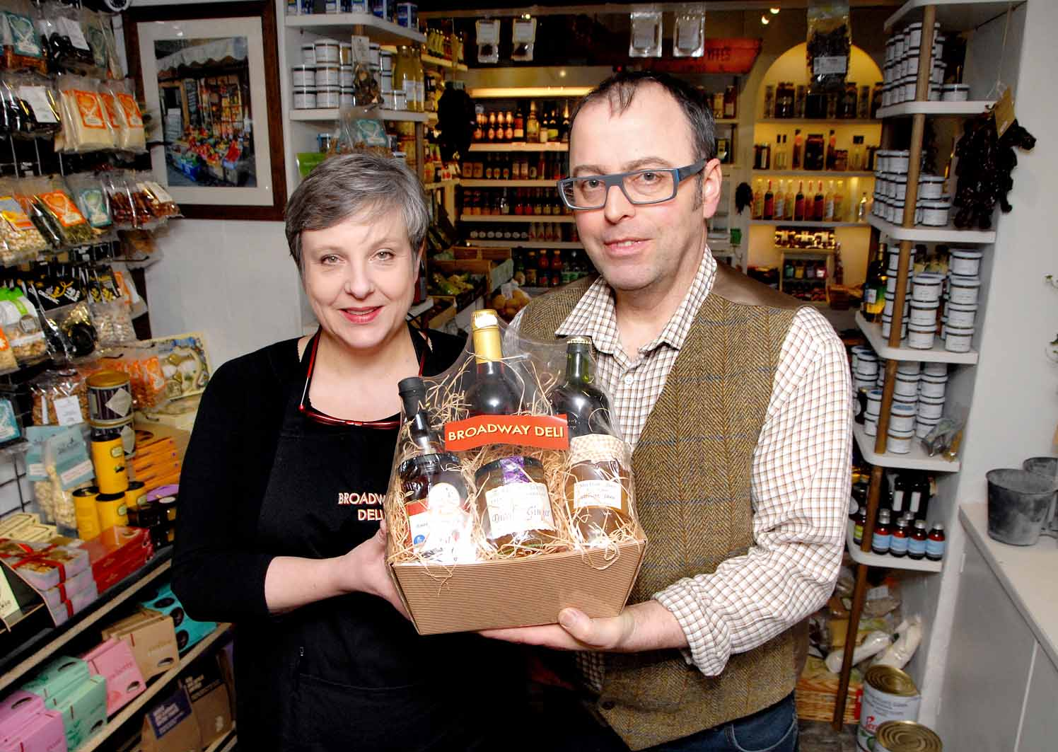 From left - Louise Hunt and Alan Frinley, owners of Broadway Deli which has moved premises. (3557901)