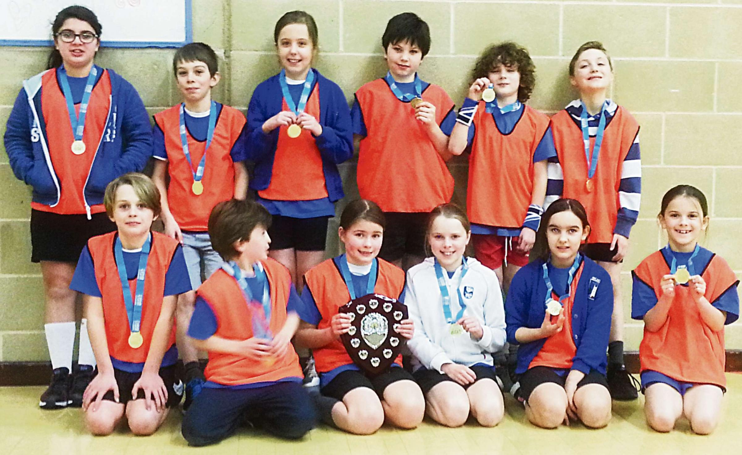 Blockley Primary School pupils who won the Cotswold small schools final in sports hall athletics.