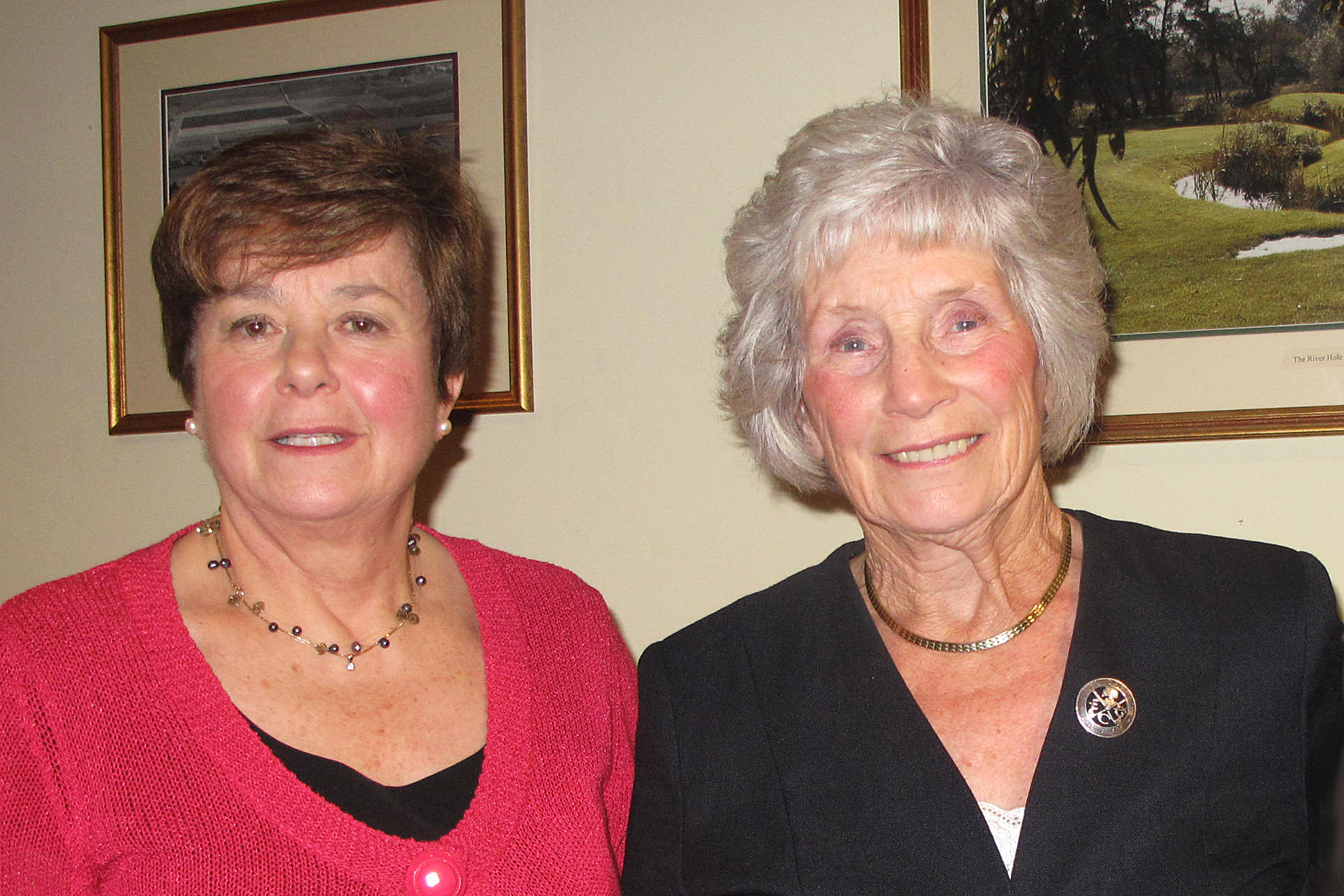 TAKING OVER: Past lady captain Angela Budden and her successor Enid Walker at Evesham Golf Club. Picture: ANGELA FLETCHER.