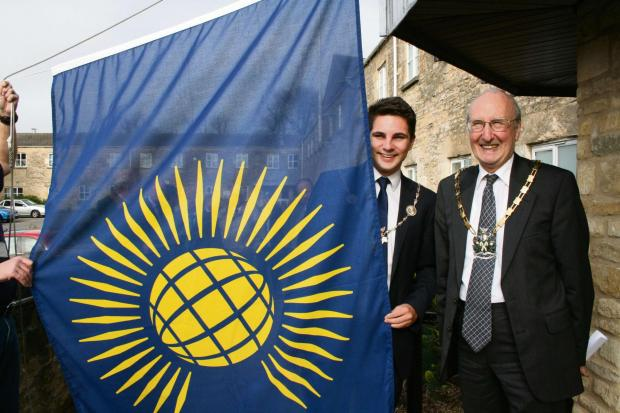 Councillor Joe Harris, the Mayor of Cirencester with Councillor Sir Edward Horsfall, Chairman of Cotswold District Council