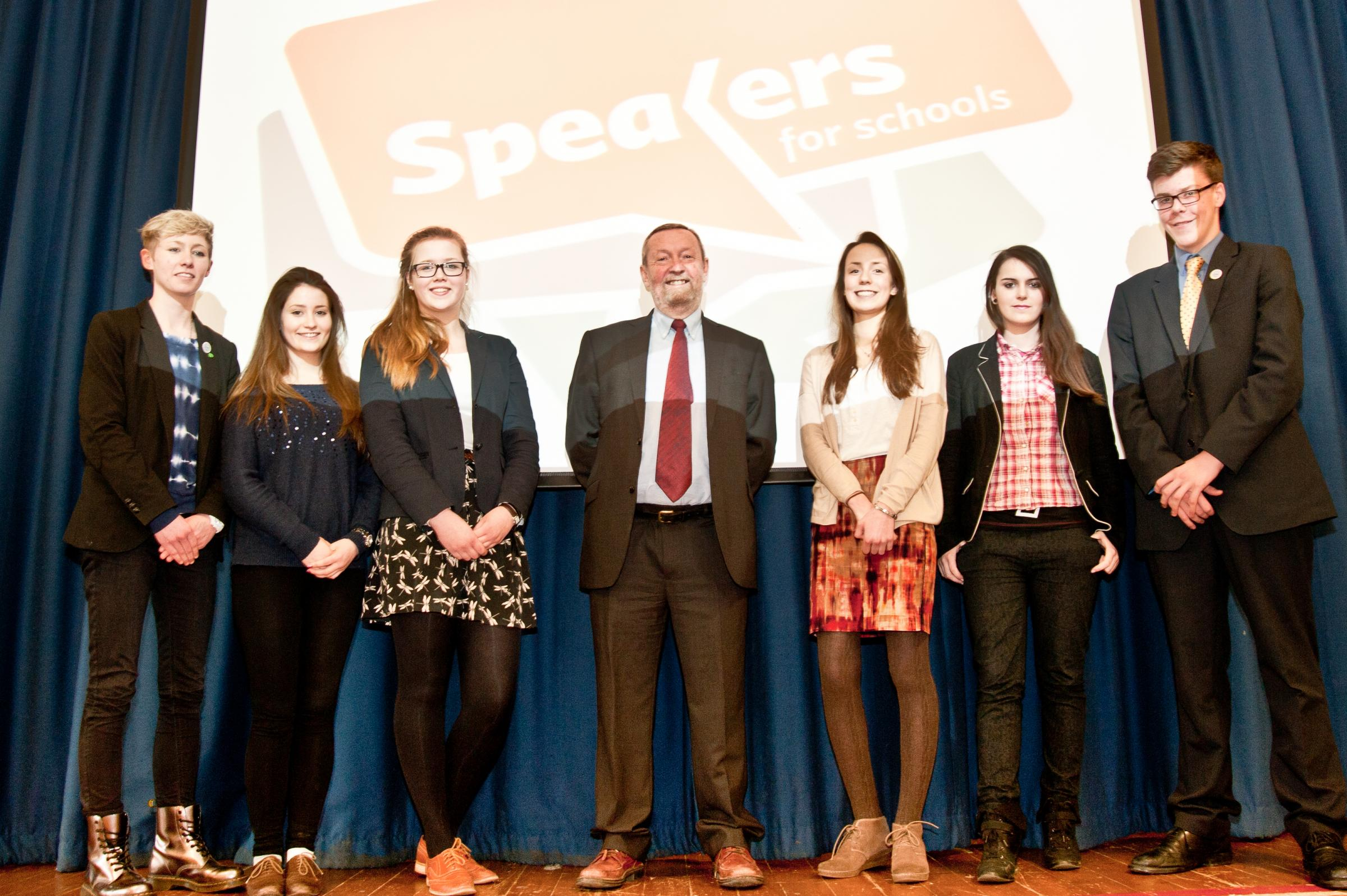 Sir John Beddington (centre) with students from Chipping Campden School l-r Sophie Ward, Emma Lawrenson, Molly Clark, Elise Sellars, Kelly Gardner and Ed Sandars