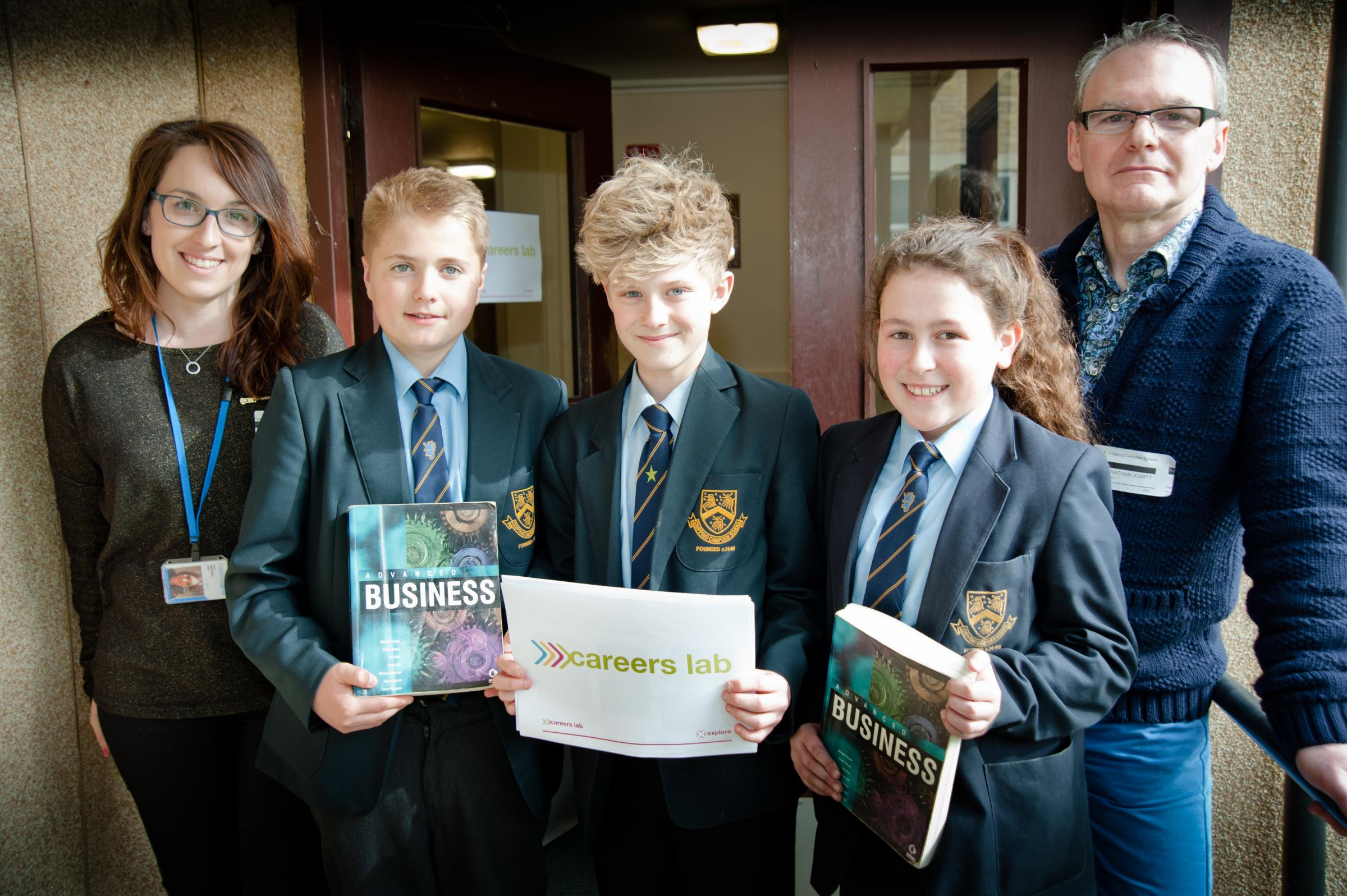 Chipping Campden School Year 8 students Harry Buxton, William Marks, Bethany Smith with business ambassadors Tara Maloney from National Grid and Jonathan Jowett from Dolby