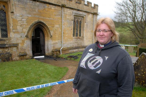 Cotswold Journal: Arson in Broadway - St Eadburgha's Church. Reverend Michelle Massey. Photo by Paul Jackson (1314554903)
