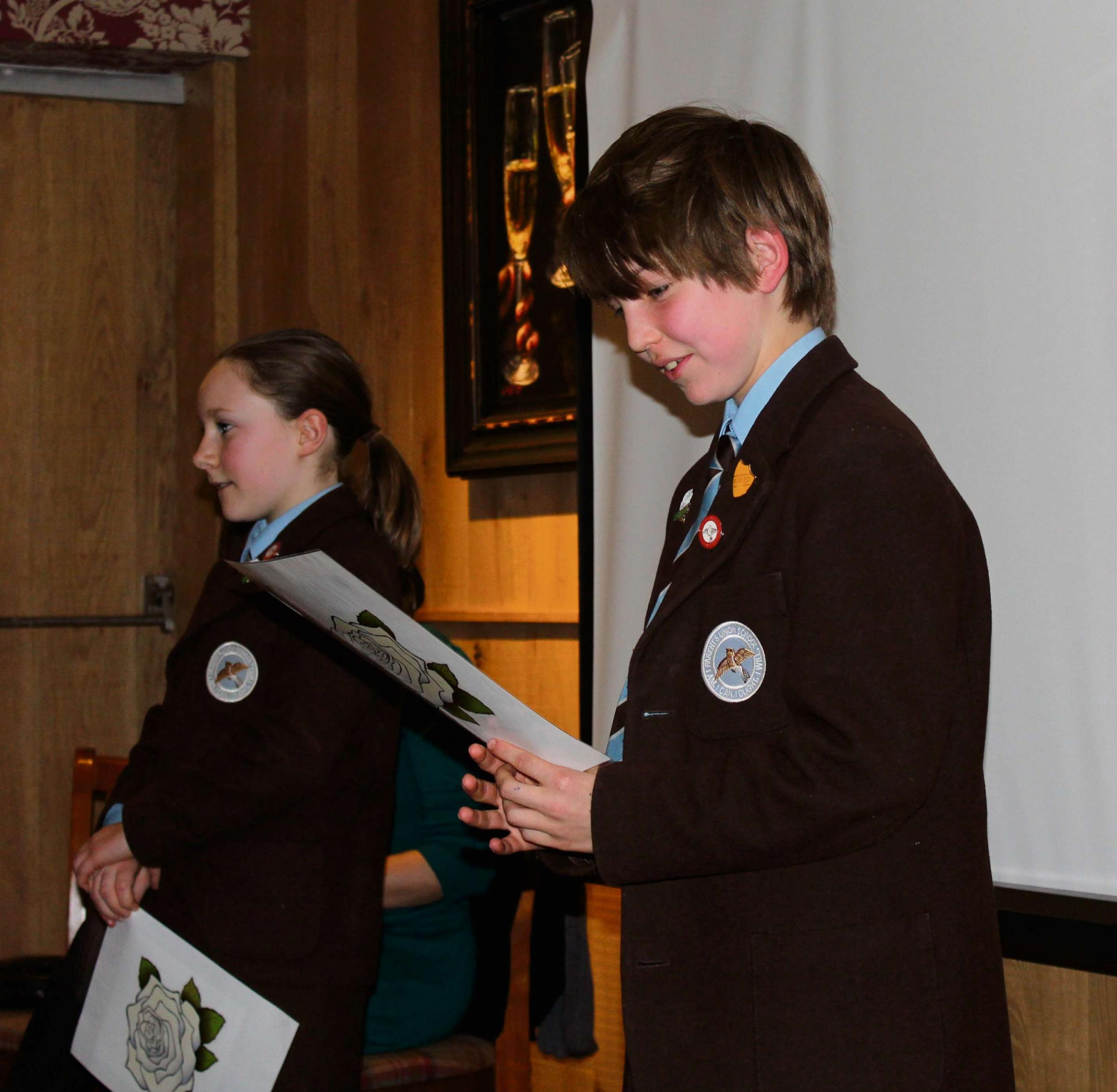 Head girl Amelia Drinkwater and head boy Nicholas Emsley, who both gave a speech at the fundraising launch