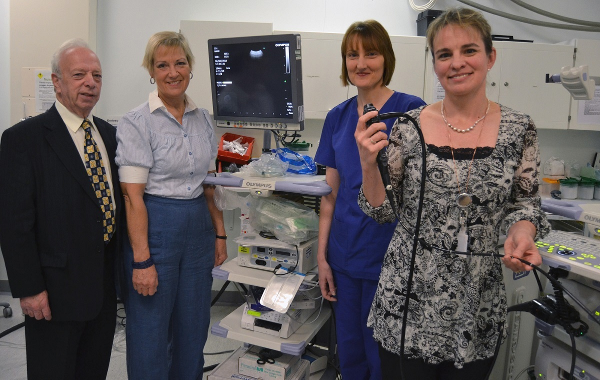 Chairman of Kidderminster Hospital League of Friends David Wase with his counterpart from Worcestershire Royal Hospital Eluned Smith, endoscopy nurse Karen Makranczy and respiratory consultant Ingrid du Rand