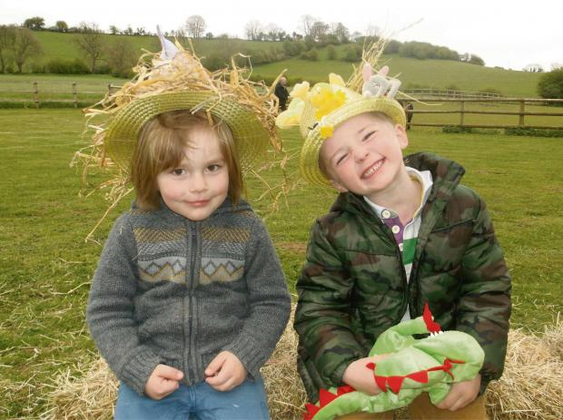 Noah Cleaver and Will Carroll, both aged four, showing off their Easter bonnets at the Winchcombe Farm Day Nursery Easter egg hunt and teddy bears picnic.
