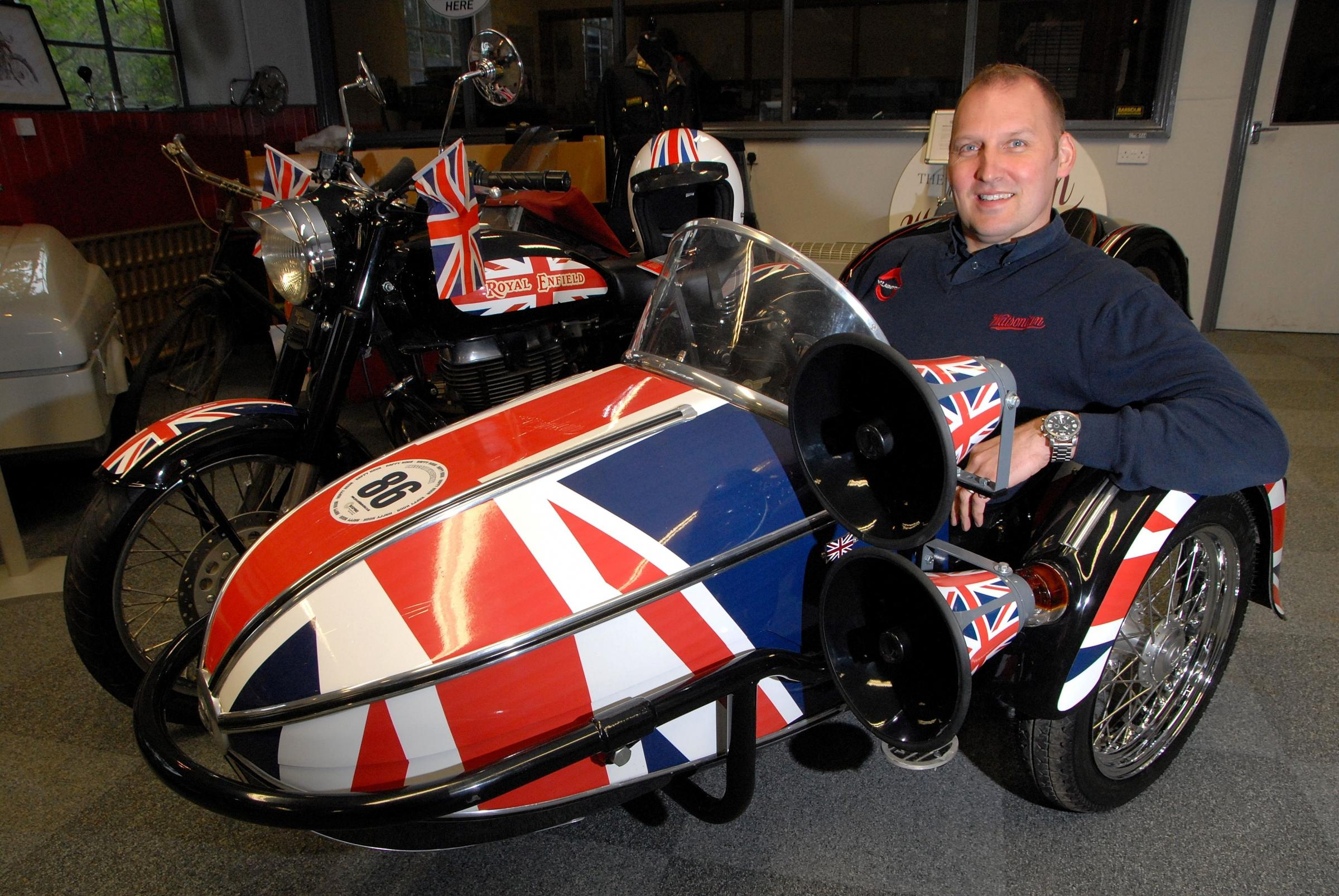 1714579601 Paul Jackson 22.04.14 Blockley Ben Matthews, director Watsonian Squire, whose sidecar featured on Britain's Got Talent. (5591883)