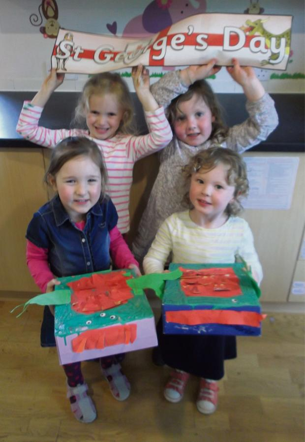 Cotswold Journal: (back row) Holly Clifford and Bea Fielding, both aged four, and front row Emma Kultanova and Fflur Pidsley, both three.