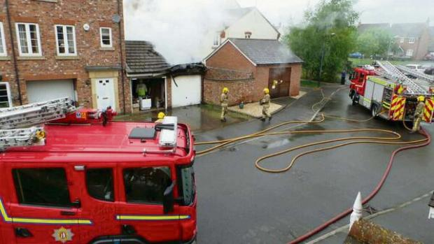 Fire crews were called to a garage fire in Railway Crescent, Shipston. Picture by Philip Vial.