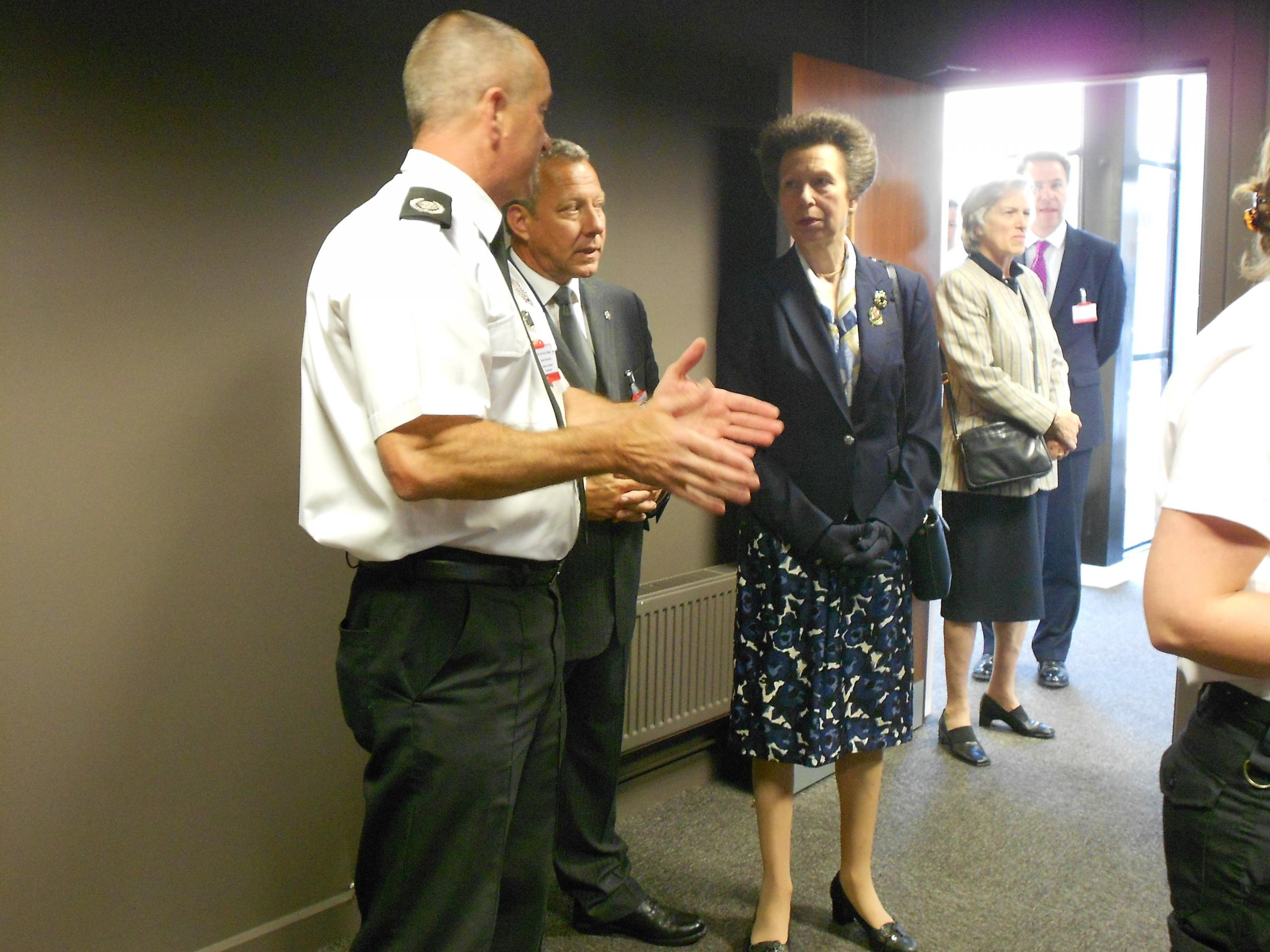 SEAL OF APPROVAL: The Princess Royal visits Moreton Fire Service College.