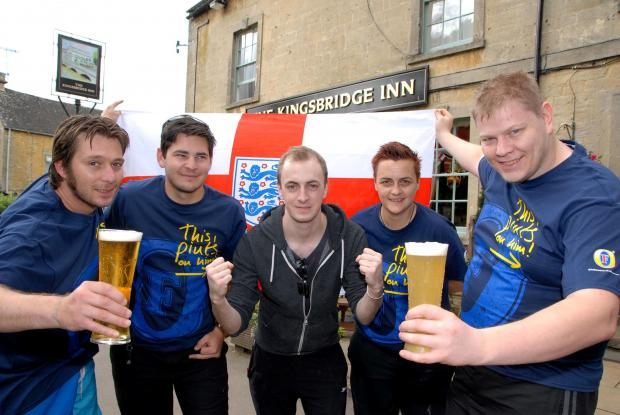 FOOTBALL FEVER: Tony Hughes, Nathan Wilson, Chris Windus, Becks Odom and Andrew Hamera, cheering at The Kingsbridge Inn. Photo by Paul Jackson. 2414619901.
