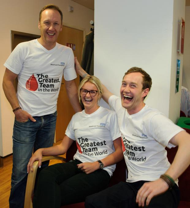 Cotswold Journal: Former England footballer Lee Dixon with first time donors Emma Richardson and Thomas Wylie Davidson.