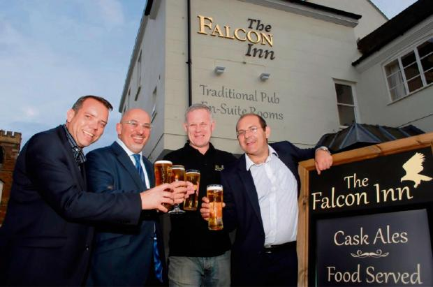 l-r Punch Taverns' Partnership Development Manager, Stuart Taylor, MP Nadhim Zahawi, Falcon licensee Simon Coyle and New Business Development Manager Chris Payne.