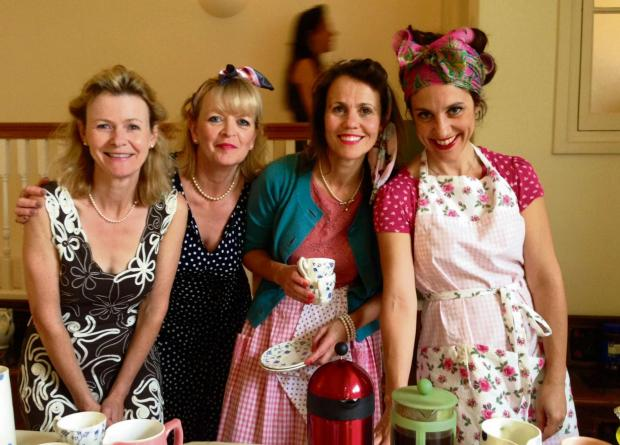 LOOKING THE PART: Susan Hunt, Mandy Lane, Tess Wilson and Konstantina Dee who served teas at the vintage event.