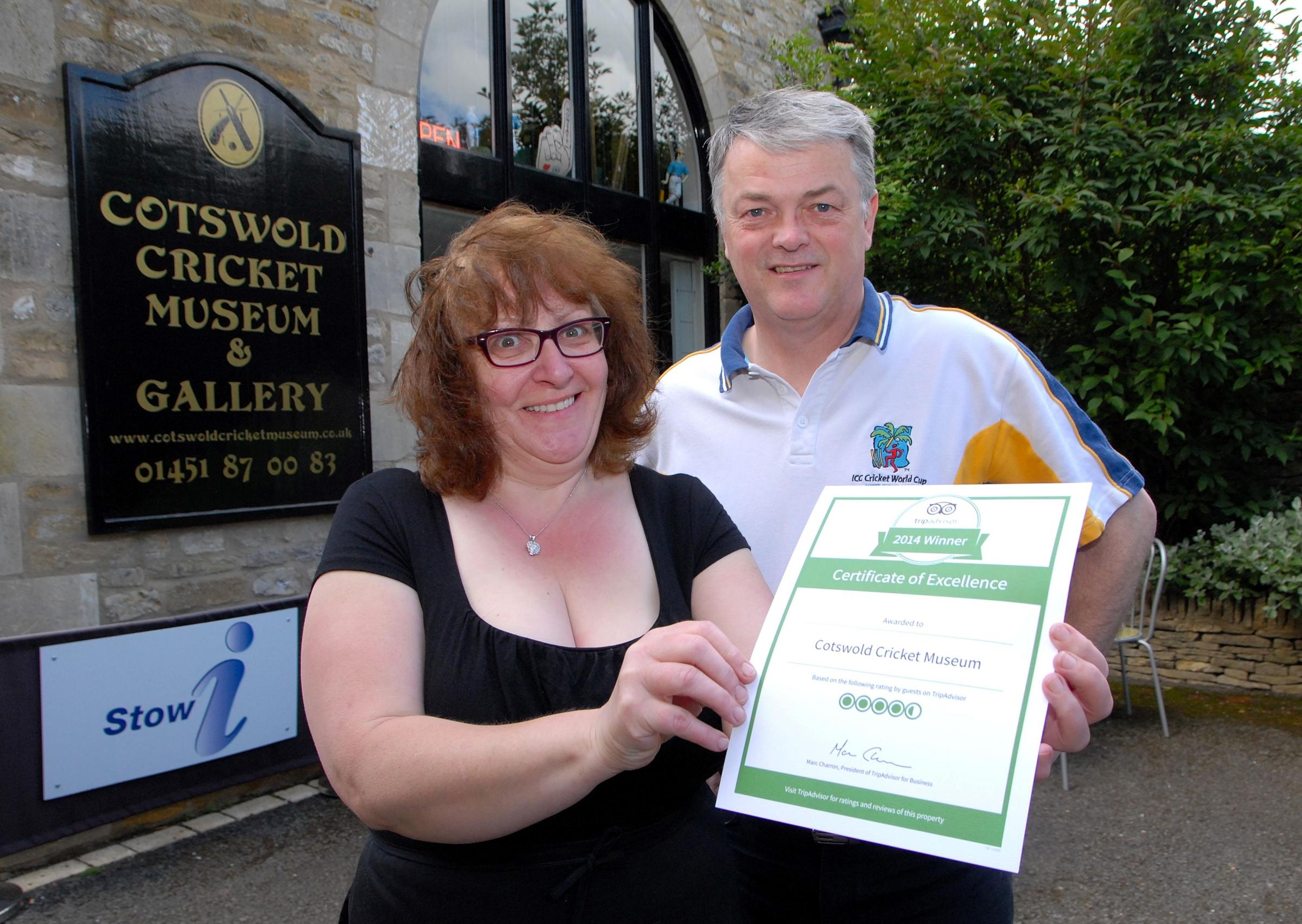 tow-on-the-Wold Cotswold Cricket Museum have been awarded a Tripadvisor certificate of excellence. From left - Marian and Andy Collier. (7029626)