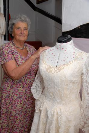 WEDDED BLISS: Brenda Salmon with exhibits for the Wedding Belles display that will be in Blockley Church on June 28 and 29. PIcture by Paul Jackson.