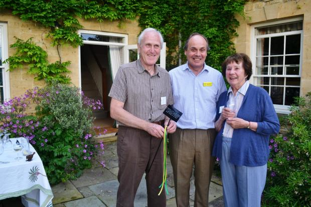 John and Shirley Round being congratulated by George Plumptre for their 30 years with the NGS.
